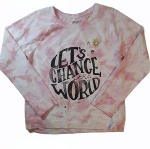 Mudd Juniors Reverse Tie-dye Change The World Top